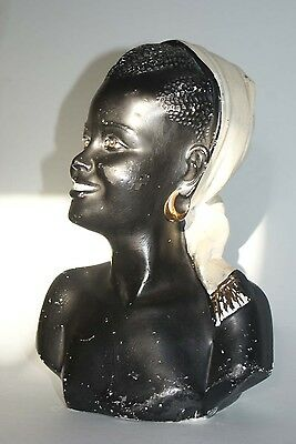 Vintage French African Black Lady Statue Plaster Bust Signed Numbered R SCALI