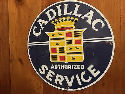 Cadillac Service Sign Porcelain Ande Rooney 1986