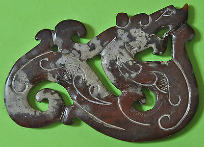 ANTIQUE CHINESE AMULET OF DRAGON HAND CARVED IN OLD JADE- 8'6x5'5x0'5cm 36g J447