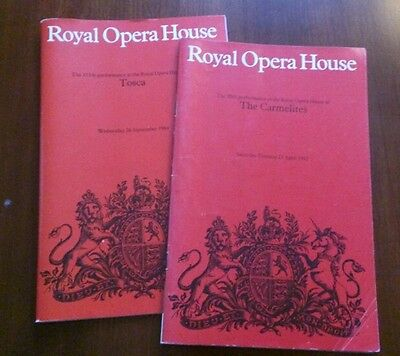 2 VINTAGE COVENT GARDEN OPERA PROGS/1980s/ROYAL OPERA HOUSE
