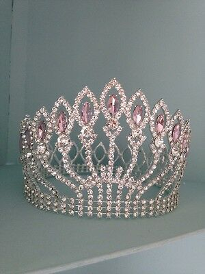 5 Inches Tall Rhinestone Crown / Pink Stones. Wedding / Pageant Crown / Stage