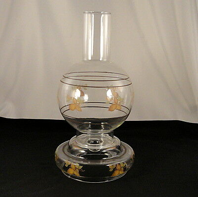 Vintage Westclair 2 Pc Glass Candle Fairy Lamp With Hurricane Shade Autumn Leaf