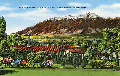 """Ogden Utah """"ogden Country Club With City To The North"""" Unused Linen Postcard"""
