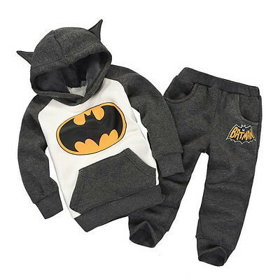 Kids Baby Batman Superhero Clothes 2pcs Set Hoodies Sweatshirt Long Pants Suit