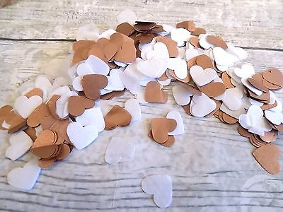 1000 vintage romantic tissue paper Heart confetti White and Rose Gold  / Bronze