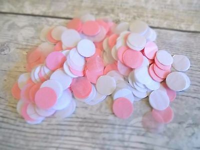1000 vintage romantic tissue paper Circle confetti White and Pink