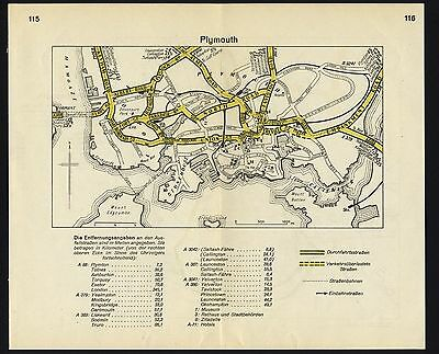 PLYMOUTH PORTSMOUTH: original German WW2 town plans local history
