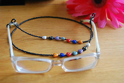 Stylish Eyeglass Cord in Black Chain with Multi-Coloured Heart Beads