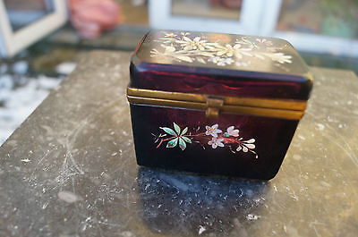 Antique Red Opeline Glass Victorian Or French Perfume Box / Container