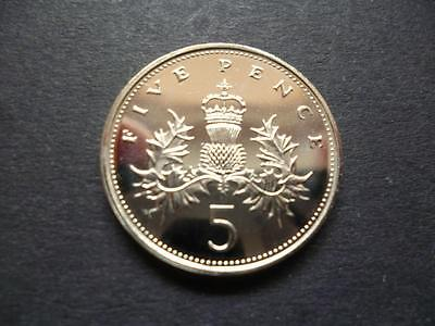 1989 BRILLIANT UNCIRCULATED FIVE PENCE PIECE. 1989 5p COIN UNCIRCULATED LARGE