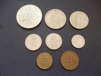 1960 8 Coin Circulated Set From Crown Down To Halfpenny In Good Used Condition.