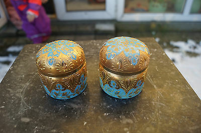 2 Antique Blue Opeline Glass Victorian Or French Perfume Boxes / Containers