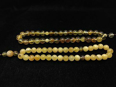 26,1g Natural Baltic Amber Rosary Tesbih Kehribar Yellow Round Beads كهرمان