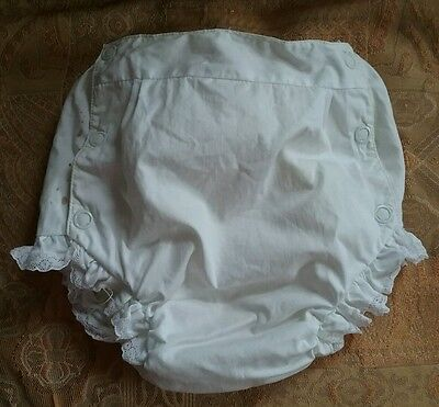 Vintage Baby White Ruffled Snap Rubber Pants Diaper Cover