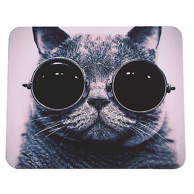 Cat B&W Sunglasses Cute Animal Funny Cool  PC Computer Mousemat Mouse Mat Pad