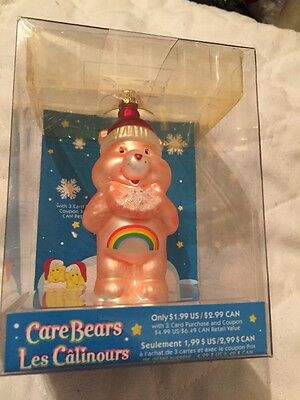 NEW 2005 Coral PINK Care Bear Christmas Wish Glass Ornament American Greetings