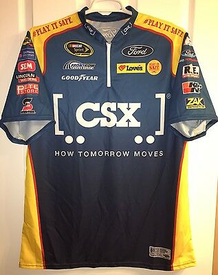 XL Nascar CHRIS BUESCHER PIT CREW SHIRT CSX TRAINS FRONT Row Motorsports Ford