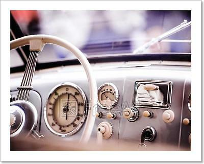 Close Up Of Veteran Car, Dashboard, Art Print Home Decor Wall Art Poster - C