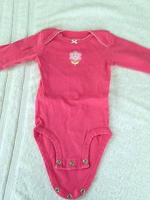 Carter's baby girl 6 months long sleeve one piece infant bodysuit pink flower