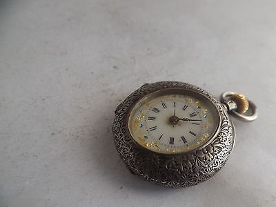 a fine vintage silver - 935 cased enamelled dial fob watch