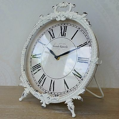 Large Mantle Clock Cream Shabby Chic Vintage French Style