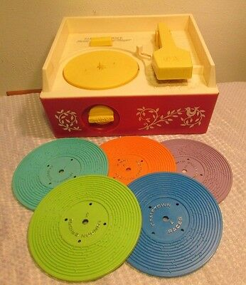 Vintage Fisher Price Music Box Record Player 1971 Complete w/ 5 Records ~ MINT~
