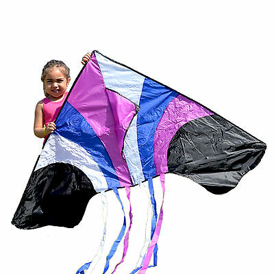 Waterfall Delta Kite Multiple Tails Made of Nylon With handle & String PINK