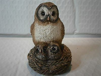 Stone Critters Owl Great With Chicks Glass Eyes Figurine Small Made In USA Bird