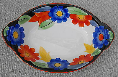 Gray's Art Deco Hand-Painted Susie Cooper Design 7913 Oval Bowl