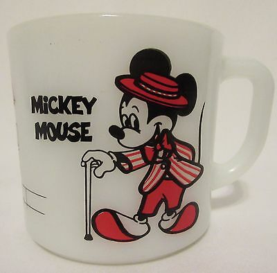 Vintage Mickey & Minnie Mouse Fire King Anchor Hocking Milk Glass Coffee Mug Cup