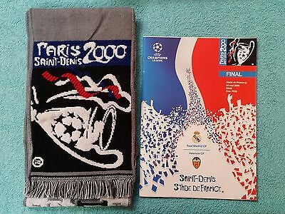 2000 CHAMPIONS LEAGUE FINAL PROGRAMME + MATCHDAY SCARF - REAL MADRID v VALENCIA