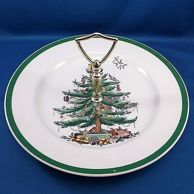 """Spode Christmas Tree Tidbit Tray White and Green Gold-Toned Handle 10.5"""""""