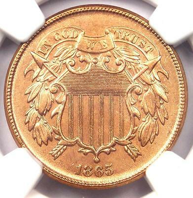1865 Two Cent Piece 2C - NGC Uncirculated Details (MS UNC) - Rare Certified Coin