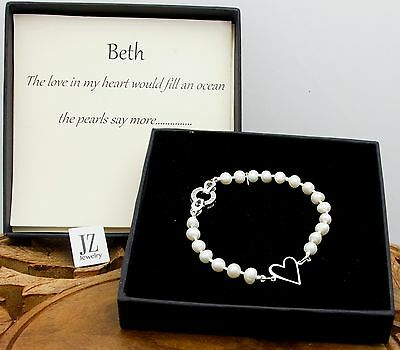 Freshwater Pearl Sterling Silver Heart Bracelet with S/S Crystal Studded Clasp.