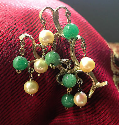 Vintage Gold Brooch with Hanging Pearl & Jade Beads