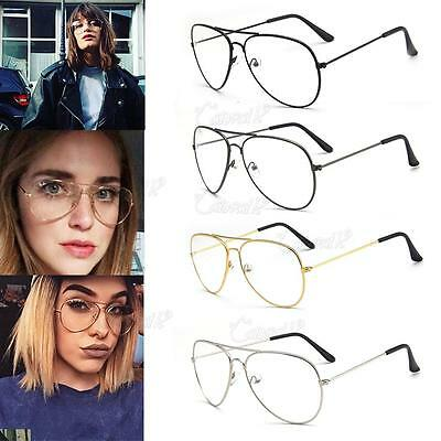 Vintage Classic Fashion Pilot Aviator Sunglasses Clear Lens Glasses Geek New