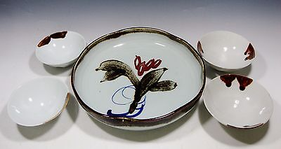 Vintage Chinese Ceramic Dish With 4 Bowls Signed