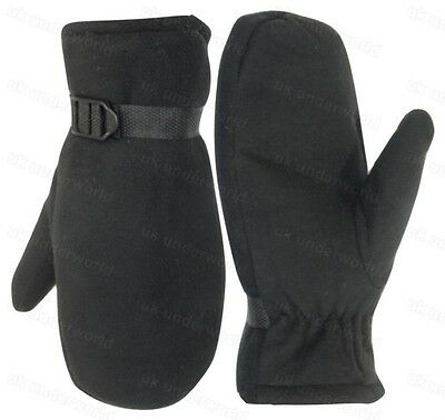 Ladies Womens Black Fleece Mittens Thermal Insulation Fur Lined Adults Gloves
