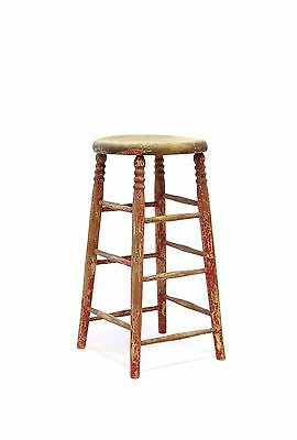 Vintage WOOD bar STOOL shabby country chic primitive red french cottage wooden