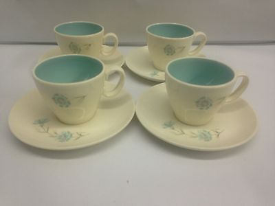 Vintage Mid Century Taylor Smith Blue White Boutonniere China Set 4 Cups Saucers