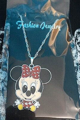 Baby Minnie Mouse Child's Necklace, Red Bow