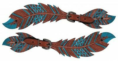 TEAL FEATHER Cutout & Tooled Leather Western Ladies Show Spur Straps