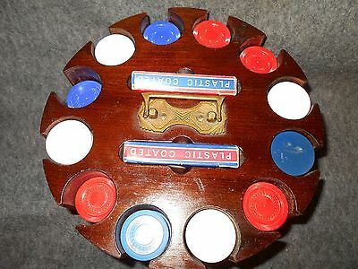 Vintage Wood Poker Chip Carousel,cards And Chips*brass Carry Handle*nice