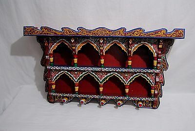 "Wall Shelf Vintage Reproduction Handpainted Moroccan Wood 40,94""H 8,26""W 24.4""D"