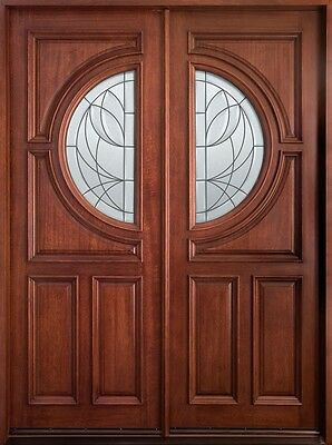 Solid Mahogany Wood Entry Door Double Prehung Medium Mahogany Finish 785 DD