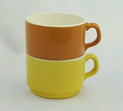 McCoy Orange Yellow Stacking Coffee Cups Mugs 8 o. Set of 2 Solid White Interior