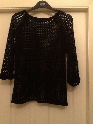 Ladies Size 12 Black Loose Knit Jumper From Top Shop.