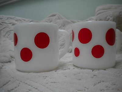 "Two White With Red Polka Dots Federal Ware "" D"" Handle Mugs"
