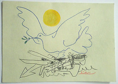 Stunning Coloured Graphite Drawing of a Sun, Dove & Weapons Signed ~ Picasso
