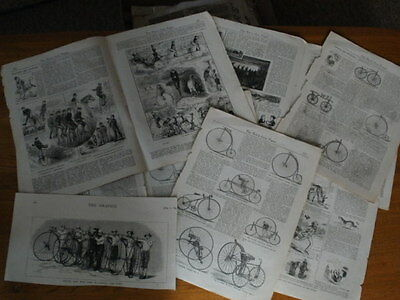 """""""The Boy's Own Paper""""/Bicyclists and Bicycling Articles & Drawings - 8 Pages"""